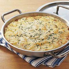 Potato & Onion Gratin (from Williams Sonoma site) - maybe add a bit of cheese (gruyere)