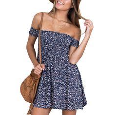b343b692c764 Aliexpress.com   Buy Off Shoulder Floral Print Fit And Flare Summer Dress  Vintage High Waist Blue Casual Women Dress 2016 Elegant Short Beach Dresses  from ...