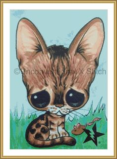 Bengal Cat kitty cross stitch pattern - Licensed Sugar Fueled by UnconventionalX on Etsy
