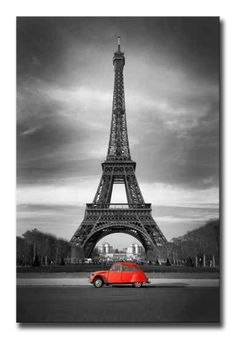 Photo about Eiffel Tower with old french red car - Paris. Image of capital, illustration, iron - 17295105 Eiffel Tower Drawing, Rouge Paris, Art Parisien, Toile Photo, Photos Encadrées, Stock Photos, Torre Eiffel Paris, Tableau Pop Art, Paris Wallpaper