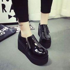 Stylish Womens Platform Wedge Creepers Round Toe Zip Casual Shoes High Heelsd207