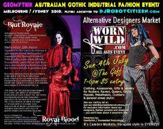 Australian Sydney Melbourne Gothic Industrial Cyber Goth Alternative Scene Worn Wild GeoMythik Fashion Label Designers Labels Fashions events markets market shop shops store stores show shows 2010s Australia Brands Flyers Posters Photo Pictures Images Pix Pics