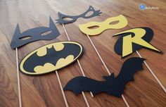 Superhero Photo Props: The Batman Set party wedding birthday die cut superhero mask robin cat woman centerpiece - Womens Batman - Ideas of Womens Batman - Superhero Photo Props The Batman Set party by BabyBinkz Marvel Wedding, Batman Wedding, Wedding Superhero, Batman Birthday, Boy Birthday, Batman Mask, Batman Batman, Batman Stuff, Photo Props