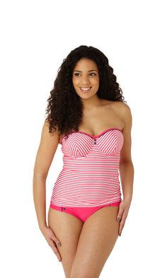 NEW Lucille bandeau tankini in coral, up to G cup, http://www.panache-lingerie.com/en/products/details/cleo-swim-by-panache/lucille/bandeau-tankini/a #cleoswim #swimwear #beachwear #tankini #bandeau #stripe #coral