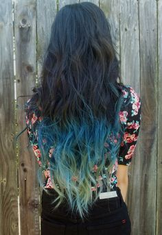 Dark hair with pastel blue ombre