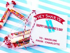 "Download Free ""Smartie Pants"" Tags ---> http://www.diynetwork.com/decorating/diy-valentine-cards-gift-tags-banners-and-treat-bags-for-kids/pictures/index.html?soc=pinterest#"