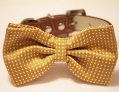 Dog Bow Tie -Mustard Bow tie with high quality Brown leather, Chic and Elegent, Wedding Dog Accessory