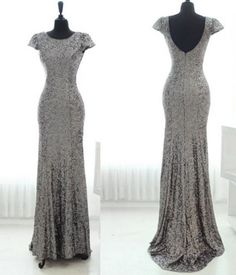 Buy Modern Sheath Scoop Floor Length Sequins Sliver Bridesmaid Dress With Short Sleeves Long Bridesmaid Dresses under US$ 119.99 only in SimpleDress.