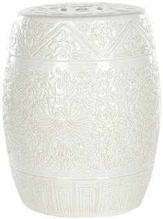 Amazon.com: Safavieh Castle Gardens Collection Embossed Ceramic Garden Stool, White: Home & Kitchen