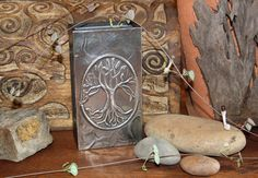 Tree of Life Pewter Art on Wood Matchbox Holder, Yggdrasil Earth Nature Yoga Pagan Wicca Candle ligh Halloween Gift, Oak Tree Wedding, Harry Potter Christmas Tree, Pewter Art, Moon Crafts, Pagan Art, White Cherries, Modeling Techniques, Tree Illustration