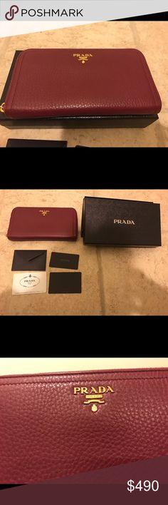 Prada vitello daino zip around wallet Condition: New Prada original box,  card include.