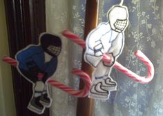 hockey player candy cane holder                                                                                                                                                                                 More Hockey Crafts, Hockey Decor, Hockey Room, Hockey Tournaments, Hockey Teams, Hockey Players, Ice Hockey, Hockey Birthday, Hockey Party