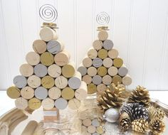 Wine Cork Mini Christmas Tree in Silver & by GoldenVineDesigns