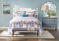 Honeyhome 100 cotton 3 Pieces LUXURY Bedding Set Peacock Printing Duvet Cover Set Including 1 Duvet Cover 2 Pillow Shams or PillowcasesQueen Size ** Visit the image link more details.