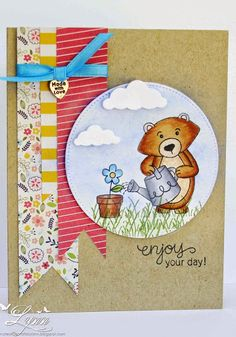 Creative Crafts by Lynn: Enjoying the Day | Garden Bear stamp from Garden Whimsy Stamp set by Newton's Nook Designs