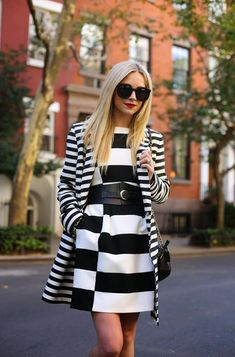 It's time to speak about bright color outfits. I decided to create this amazing street style collection and show you my favorite tips and ideas on how to wear Look Street Style, Street Chic, Belted Dress, Striped Dress, Dress Black, White Dress, Look Chic, White Fashion, Stripes Fashion