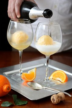 replacement for the OJ in mimosas. - Tangerine Sorbet Champagne Floats- perfect for a shower or wedding day prep.