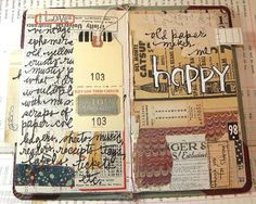 I love how the page is covered first in found papers and then journaled on top!