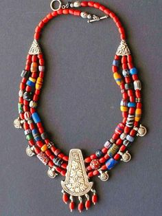 Multi strand Naga & African bead Necklace