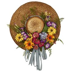 Nearly Natural Mixed Flower Straw Hat Wreath