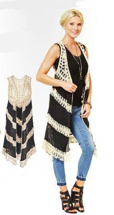 Crochet Island Long Vest by Coco + Carmen                                                                                                                                                                                 Más