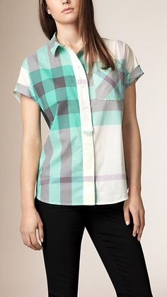 bba9c94011a7 Aqua green Exploded Check Cotton Voile Shirt - Image 1 Burberry Sale,  Ruffle Sleeve,
