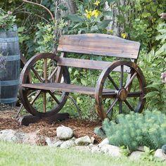 Wagon Wheel Wooden Outdoor Bench