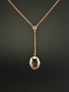 Art Deco 6.16 Ct natural citrine and diamond pendant necklace by AntiqueVelvetGloves on Etsy https://www.etsy.com/listing/385210968/art-deco-616-ct-natural-citrine-and