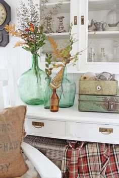 demi-johns & brass hardware, plaid and lots of white | Birch + Bird Vintage Home Interiors