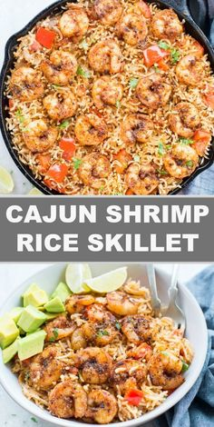 shrimp recipes Cajun Shrimp and Rice Skillet are that one pan dinner recipe, your family is going to love. It is spicy with lots of flavour from Cajun Spice. A perfect Shrimp and rice recipe, that takes less than 30 minutes from stove to table. Cajun Shrimp And Rice, Shrimp And Rice Recipes, Shrimp Dishes, Cajun Recipes, Easy Chicken Recipes, Fish Recipes, Cooking Recipes, Healthy Recipes, Skillet Shrimp