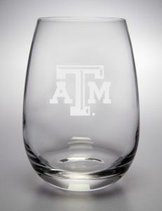 Texas A Aggies Deep Etched Stemless Red Wine Glass by Campus Crystal. $19.99. 15OZ Stemless Red Wine Glass. This sophisticated product line uses a deep etch process which provides the most beautiful and enduring decorated glass gifts available today. Designed to be used with limited breakage on a daily basis, dishwasher safe. Officially Licensed by the NCAA. Made in the USA