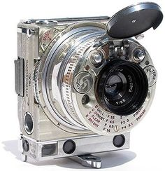 This compact 35mm camera was one of the most technically advanced gadgets of 1930s. It was produced by Swiss watch and clock manufacturer, also famous for its long-time partnership with luxury car makers. Jaeger LeCoultre sign can be found on the instrument panels of Bentley, Aston Martin, Lancia Astura, Delahaye and others.