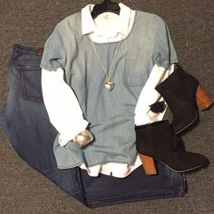 outfit ideas - women's fashion - style - winter outfits - chic - street style - trends - boyfriend jeans - ripped jeans - distressed jeans - denim - women's fashion - trends - 2016 fashion - chambray shirts - booties - tassels - layers