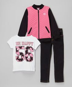Loving this Pink & Black 'Be Happy' Set - Infant, Toddler & Girls on #zulily! #zulilyfinds