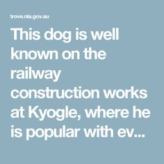 This dog is well known on the railway construction works at Kyogle, where he is popular with everybody. The snapshots explain themselves