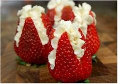 strawberries filled with whipped cream! Strawberry Flower, Strawberry Filling, Strawberries And Cream, Strawberry Recipes, Stuffed Strawberries, Cheesecake Filled Strawberries, Strawberry With Chocolate, Just Desserts, Delicious Desserts