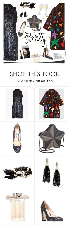 """595"" by believelikebreathing ❤ liked on Polyvore featuring French Connection, Gucci, Jimmy Choo, Circus by Sam Edelman, Chloe + Isabel, Oscar de la Renta, Chloé, Bobbi Brown Cosmetics and danceparty"