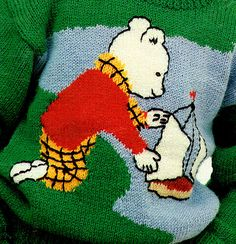 Vintage Childrens 'RUPERT the BEAR' Motif by TheAtticofKitsch Yarn Bombing, Retro Toys, Vintage Knitting, Kitsch, Sailor, Nautical, Knit Crochet, Kids Outfits, Crochet Patterns