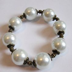 Huge White Glass Pearl Antique Bronze Bead Caps by MystiqueCat, $10.00
