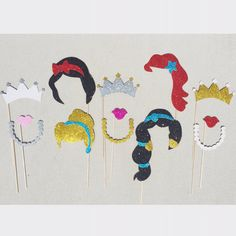 Disney Princess Photo Booth Prop Set; Princess Photo Props; Princess Birthday Party