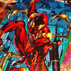 Does this next one even need an introduction?  #ironspider #spiderman #marvel #comics #comicart #wip #civilwar #peterparker #awesome #starkematter #1 #collage #decoupage #upcycle