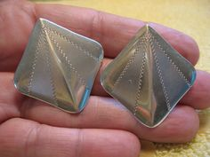 Bold vintage sterling silver 70's earrings, pierced, free US shipping by UnicornGems on Etsy