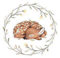 Nursery Woodland Animals Print Watercolor, set of fox, r Cute Illustration, Watercolor Illustration, Watercolor Art, Flower Wreath Illustration, Cute Drawings, Animal Drawings, Drawing Animals, Inspiration Art, Woodland Animals
