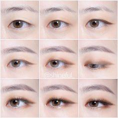 The eyes looks like Namjoon - Korean Makeup Look, Korean Makeup Tips, Asian Eye Makeup, Korean Makeup Tutorials, Ulzzang Makeup Tutorial, Monolid Eyes, Monolid Makeup, Beauty Makeup, Makeup Inspo