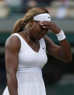Serena Williams of U.S. gestures after losing a point to Alize Cornet of France during their women's singles match at the All England Lawn Tennis Championships in Wimbledon, London, Saturday, June 28, 2014. (AP Photo/Sang Tan) ▼30Jun2014AP|103 years since no Americans in Wimbledon last 16 http://bigstory.ap.org/article/zero-us-men-women-reach-wimbledons-round-16 #The_Championships_Wimbledon_2014 #Serena_Williams