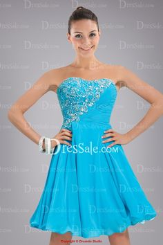 Pretty Chiffon Strapless Princess Sweet 16 Dress Enhanced with Beaded Applique and Delicate Ruches