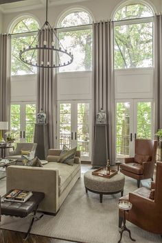 window treatments for tall windows ideas.window treatments for tall ceilings.window treatments for tall skinny windows. Big Window Curtains, Tall Curtains, Curtains Living, Living Room Windows, Home Living Room, Window Wall, Curtains For Arched Windows, Extra Long Curtains, Floor To Ceiling Curtains