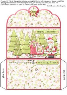 Santa And His Sleigh Money Wallet For Christmas on Craftsuprint designed by Valerie Swinglehurst - A money wallet for Christmas,can be used for money, gift cards, lottery's and more! - Now available for download!