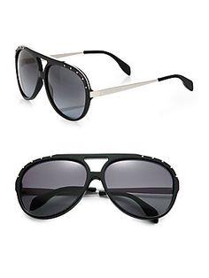 92d5976c63846 Alexander McQueen - Studded Acetate Aviator Sunglasses