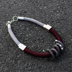 spring gray and bourdeaux rope necklace with cube and tube element silver plate necklace handmade knitted everyday